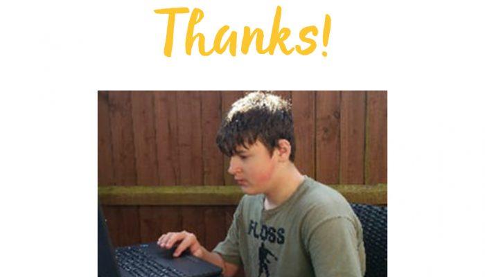 Harvey on his new laptop